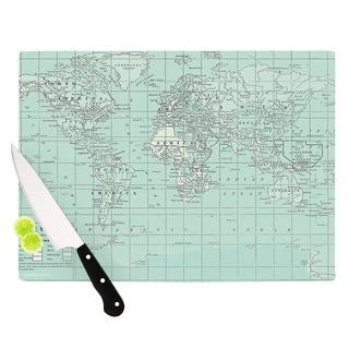 KESS InHouse Catherine Holcombe 'The Old World' Blue Teal Cutting Board