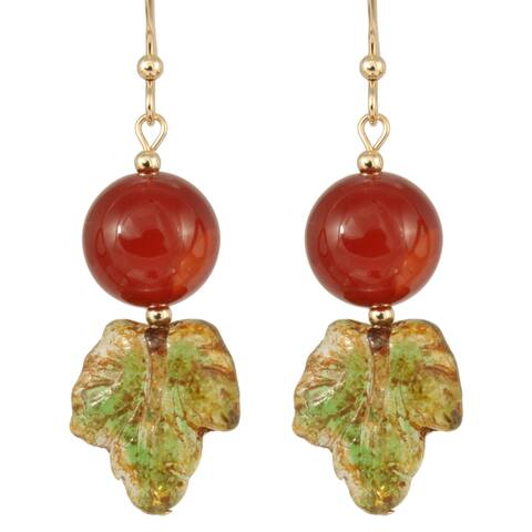 Handmade Carnelian and Glass Rowan Berry Earrings