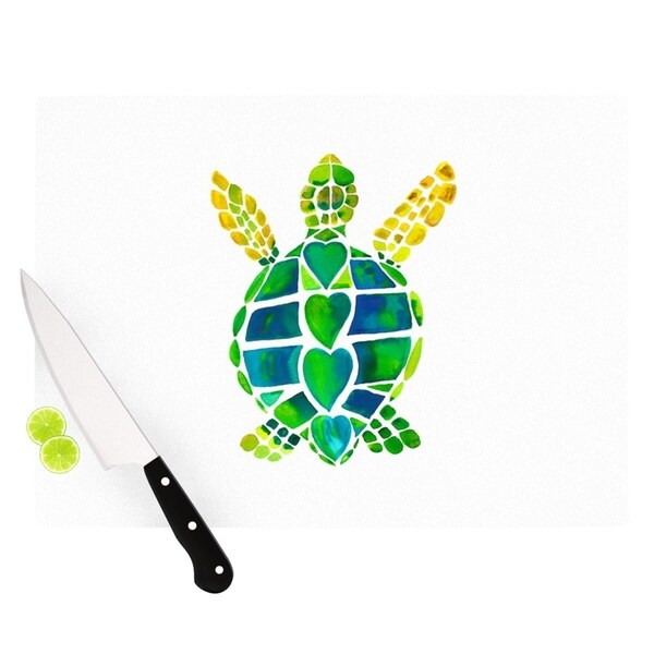 KESS InHouse Catherine Holcombe 'Turtle Love' Green Teal Cutting Board