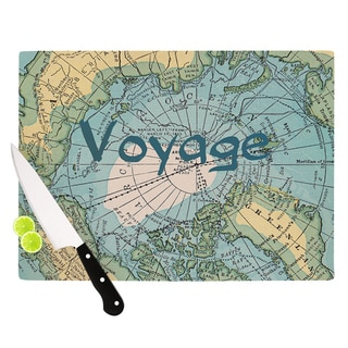 KESS InHouse Catherine Holcombe 'Voyage' Teal Map Cutting Board