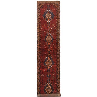 Herat Oriental Persian Hand-knotted Tribal Hamadan Wool Runner (3'6 x 16'8)