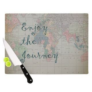 KESS InHouse Catherine Holcombe 'Journey' World Map Cutting Board