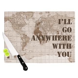 KESS InHouse Catherine Holcombe 'I'll Go Anywhere With You' Brown Map Cutting Board