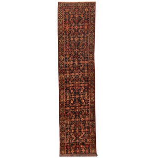 Herat Oriental Persian Hand-knotted Tribal Hamadan Wool Runner (3'3 x 15'4)