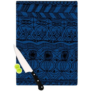 KESS InHouse Catherine Holcombe 'Black and Blue' Pattern Cutting Board