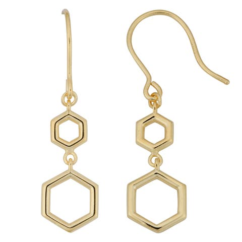 Fremada Italian 10k Yellow Gold Geometric Drop Dangle Earrings