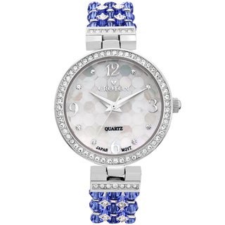 Croton Ladies CN207563RHBL Stainless Steel Blue Swarovski Bead Watch with Austrian Crystals and Coordinated Bracelet
