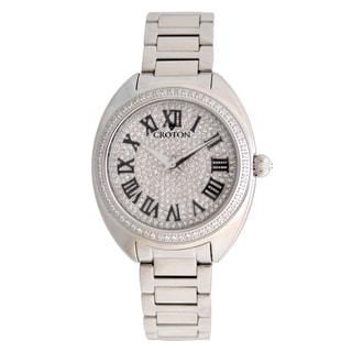 Croton Ladies CN207564SSPV Silvertone Swiss Quartz with Set CZ Bezel and Pave Dial Watch