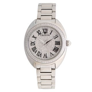 Croton Ladies CN207564SSPV Silvertone Swiss Quartz with Set CZ Bezel and Pave Dial Watch|https://ak1.ostkcdn.com/images/products/13149503/P19876675.jpg?impolicy=medium