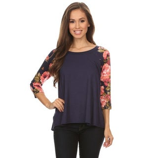 Women's Multicolor Rayon and Spandex Floral Pattern Sleeve Tunic
