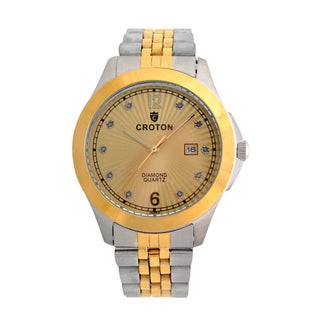 Croton Mens CN307562TTCD Stainless Two Tone 10 Diamond dial Watch