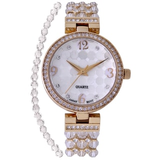 Croton Ladies CN207563YLCR Stainless Steel Clear Swarovski Bead Watch with Austrian Crystals and Coordinated Bracelet