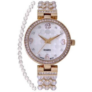 Croton Ladies CN207563YLCR Stainless Steel Clear Swarovski Element Bead Watch with Austrian Crystal and Coo