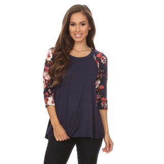 Women's Floral Pattern Rayon/Spandex 3/4-sleeve Tunic