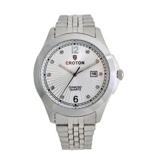 Croton Mens CN307562SSSD Stainless Silvertone 10 Diamond dial Watch