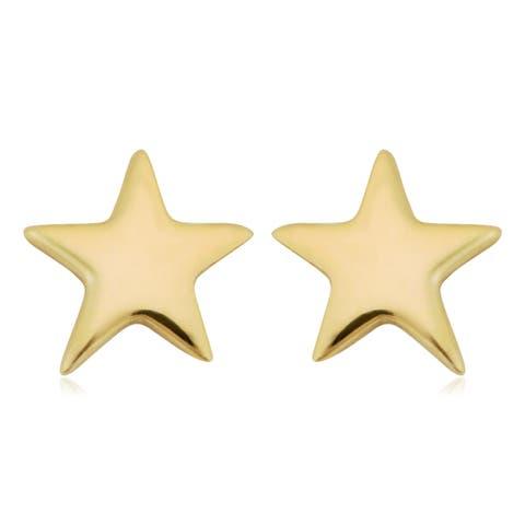 Fremada Italian 10k Yellow Gold Small Star Stud Earrings