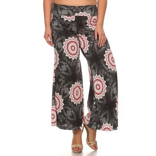 Women's Polyester and Spandex Plus Size Sun Medallion Pattern Pants