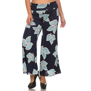 Women's Polyester Blend Floral Leaf Plus Size Pattern Palazzo Pants