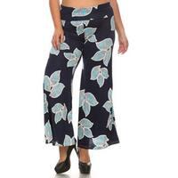 Women's Polyester Blend Floral Leaf Plus Size Pattern Palazzo Pants