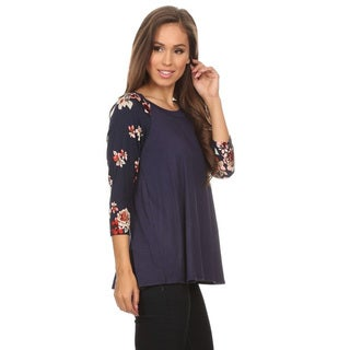 Women's Grey Rayon Floral-pattern 3/4-sleeve Tunic