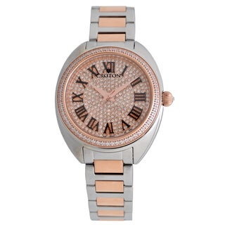 Croton Ladies CN207564TTRG Stainless Steel Two tone with Set CZ Bezel and Pave Dial Quartz Watch|https://ak1.ostkcdn.com/images/products/13149533/P19876721.jpg?_ostk_perf_=percv&impolicy=medium