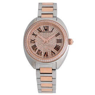 Croton Ladies CN207564TTRG Stainless Steel Two tone with Set CZ Bezel and Pave Dial Quartz Watch