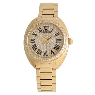 Croton Ladies CN207564YLPV Stainless Goldtone Swiss Quartz with Set CZ Bezel and Pave Dial Watch