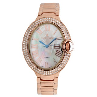 Croton Ladies CN207566RGMP Stainless Rosetone Quartz with Crystal Bezel & Mother of Pearl Dial Watch