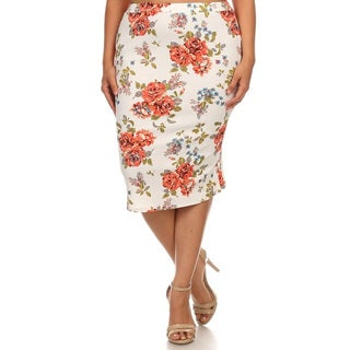 Women's Multicolored Polyester/Spandex Plus-size Floral Pencil Skirt