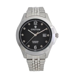 Croton Mens CN307562SSBD Stainless Silvertone 10 Diamond dial Watch