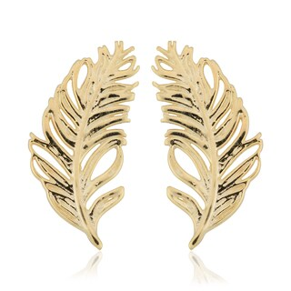 Fremada Italian 10k Yellow Gold Feather Stud Earrings