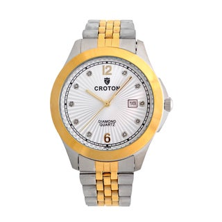 Croton Mens CN307562TTSD Stainless Two Tone 10 Diamond dial Watch