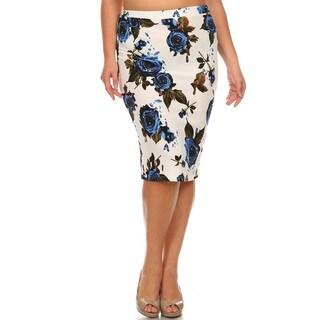 Women's Plus Size Floral Pencil Skirt