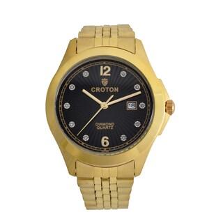 Croton Mens CN307562YLBD Stainless Goldtone 10 Diamond dial Watch