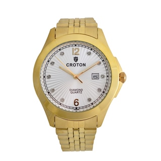 Croton Mens CN307562YLSD Stainless Gold Tone 10 Diamond dial Watch