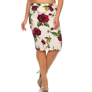 Women's Multicolor Polyester Plus-size Floral Pencil Skirt