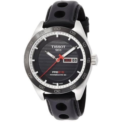 Tissot Men's T1004301605100 'PRS 516' Automatic Black Leather Watch