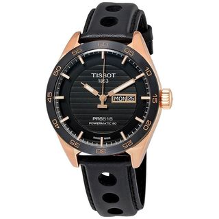Tissot Men's T1004303605100 'PRS 516' Automatic Black Leather Watch