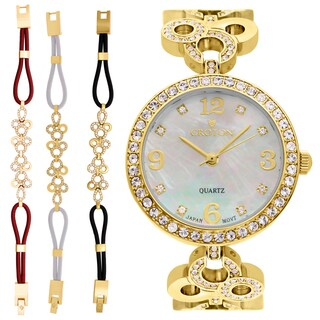 Croton Ladies CN407567YLMP Stainless Goldtone Mother of Pearl Dial Watch with Crystal Bezel & Bracelet Set