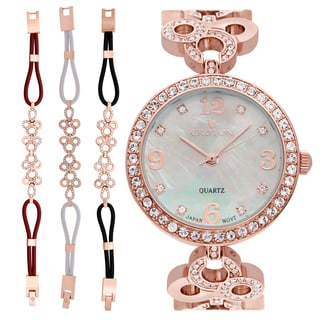 Croton Ladies CN407567RGMP Stainless Rosetone Mother of Pearl Dial with Crystal Bezel & Bracelet Set Watch