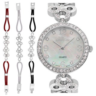 Croton Ladies CN407567RHMP Stainless Silvertone Mother of Pearl Dial with Crystal Bezel & Bracelet Set Watch