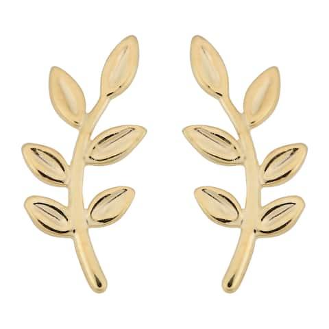 Fremada Italian 10k Yellow Gold Olive Branch Earrings