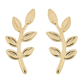 Fremada Italian 10k Yellow Gold Olive Branch Earrings