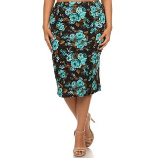 Women's Black and Blue Polyester Plus-size Floral Pencil Skirt