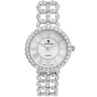 Croton Ladies SS202116CZMP .925 Sterling Silver with set CZ's and Mother of Pearl Dial Watch