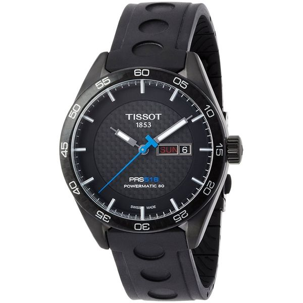 Tissot Men's T1004303720100 'PRS 516' Carbon Automatic Black Rubber Watch