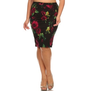 Women's Multicolor Polyester and Spandex Plus-size Floral Pencil Skirt