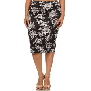 Women's Polyester and Spandex Plus Size Floral Pencil Skirt