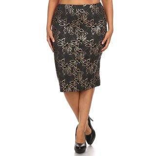 Women's Polyester and Spandex PLus-size Floral Embroidered Pencil Skirt