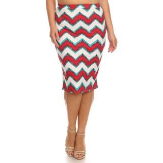 Women's Multicolored Polyester/Spandex Plus-size Chevron Skirt